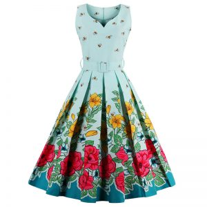 Floral Bee Print Dress