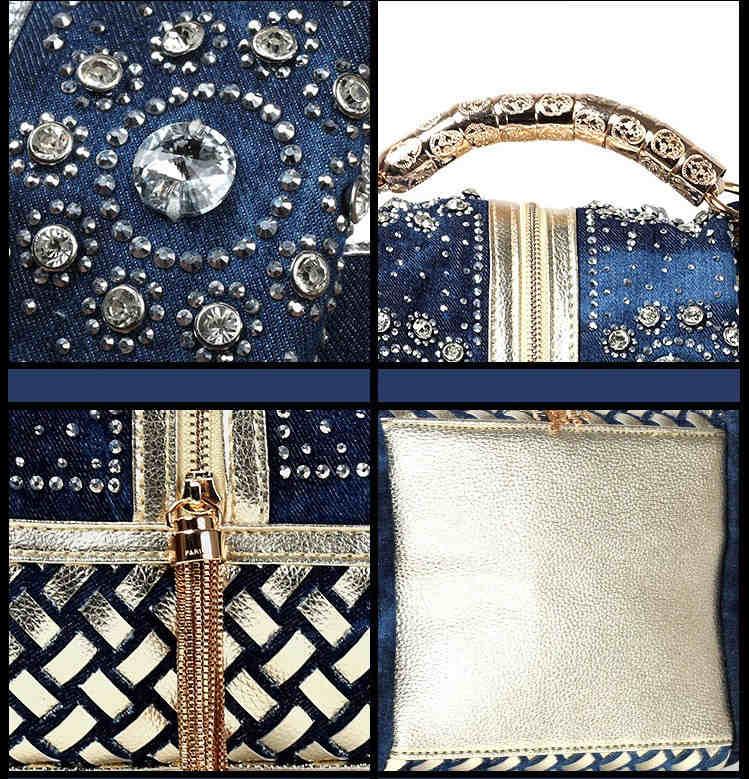 Luxury Denim, Metallics and Rhinestone Tote Bag Detailes