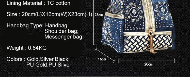 Luxury Denim, Metallics and Rhinestone Tote Bag Size