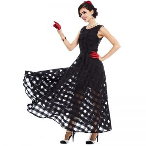 Maxi Plaid Black Dress
