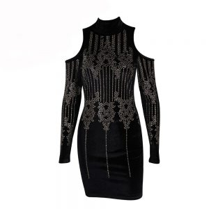 High Neck Dress With Rhinestones