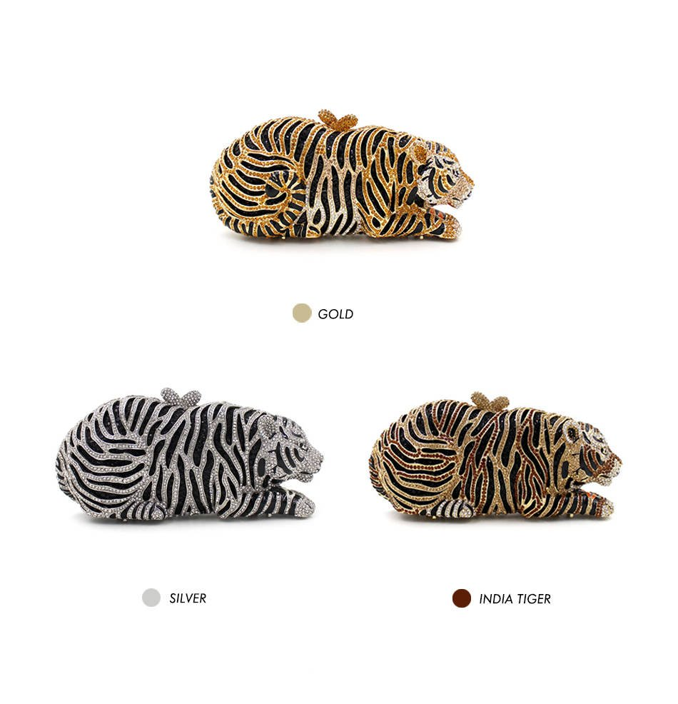 Luxury Crystal Tiger Clutch Colors