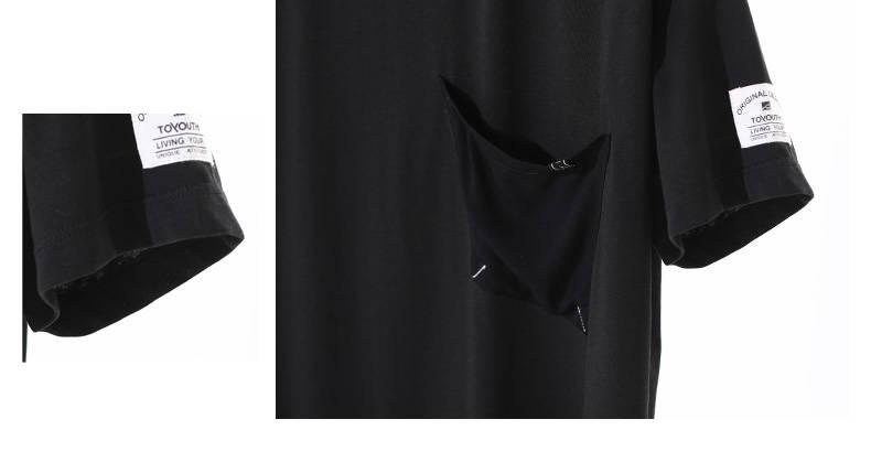 Quality T Shirt Black With Asymmetrical Pocket