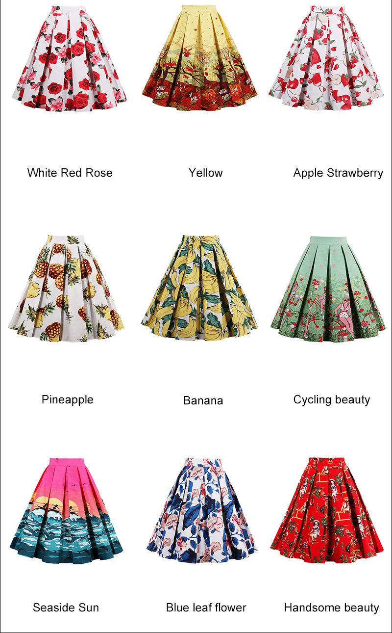 Printed Skirts in 18 Retro and Floral Styles High Waisted Midi 4