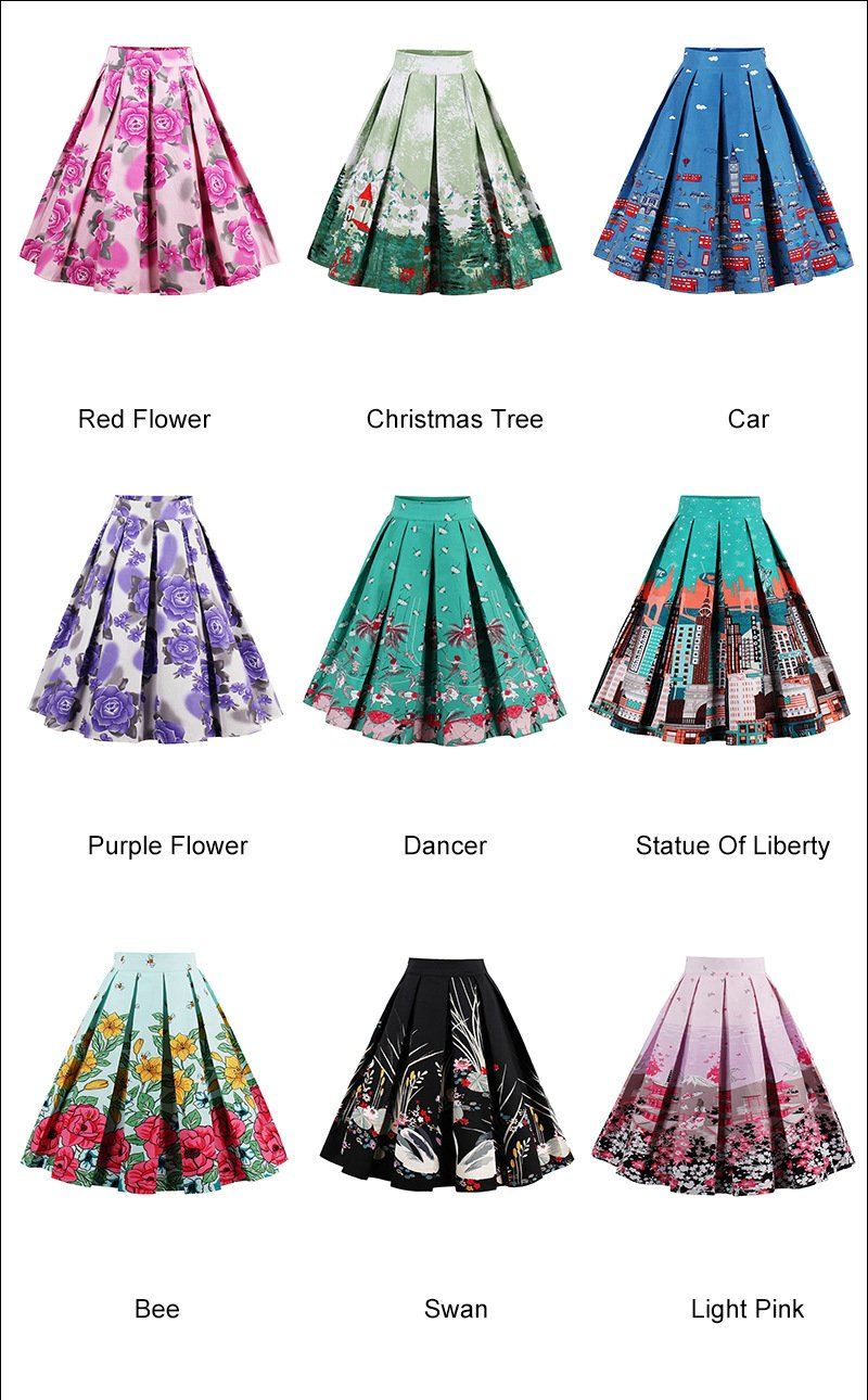 Printed Skirts in 18 Retro and Floral Styles High Waisted Midi 3