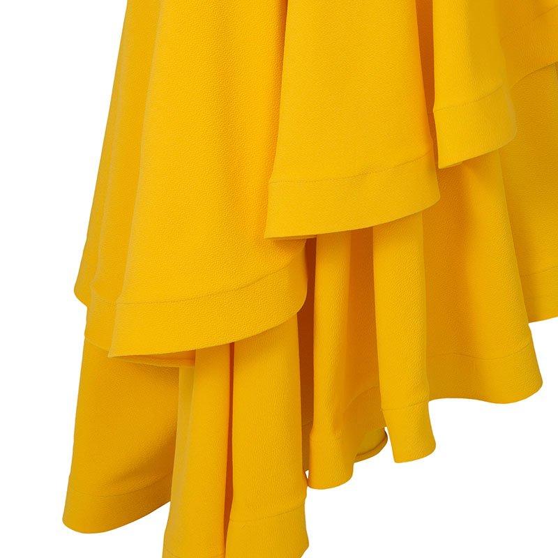 Yellow Ruffle Dress - One Shoulder Long Bodycon 4