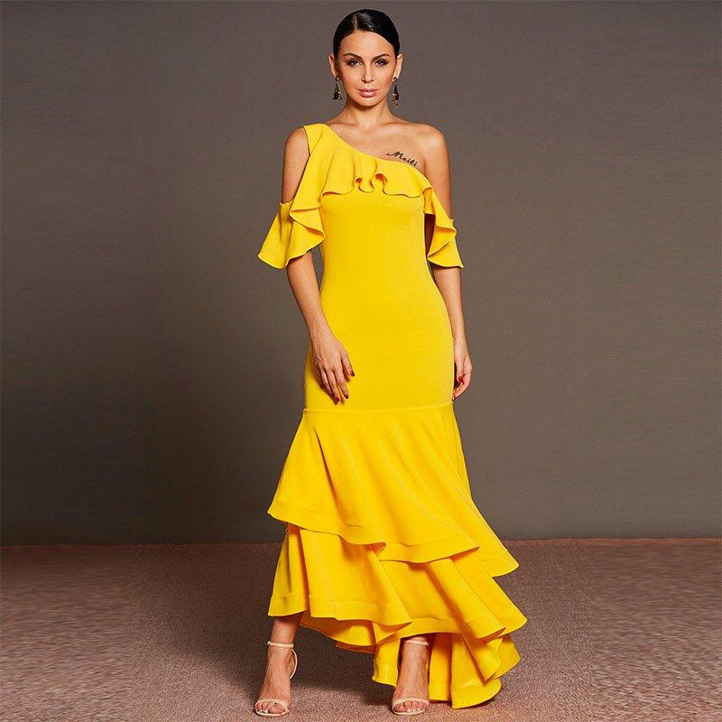 Yellow Ruffle Dress Bodycon